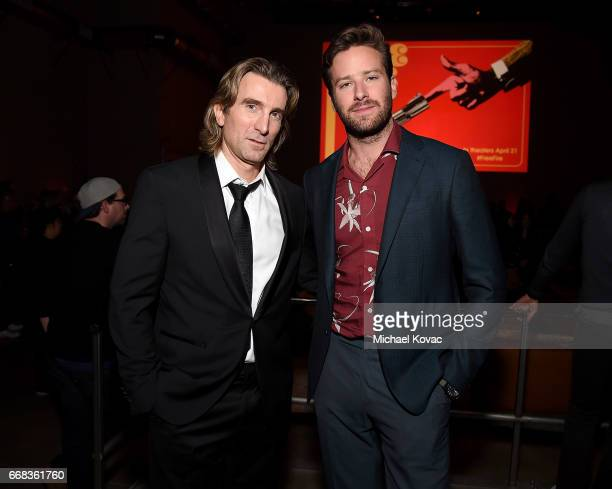Actors Sharlto Copley and Armie Hammer attend the after party for The Los Angeles Premiere Of 'Free Fire' Presented By Casa Noble Tequila on April 13...