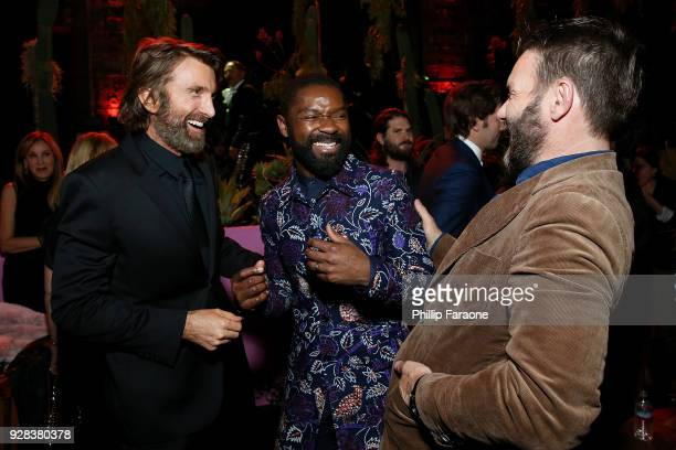 Actors Sharlto Copley David Oyelowo and Joel Edgerton attend the premiere of Amazon Studios and STX Films' Gringo After Party on March 6 2018 in Los...