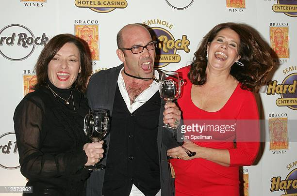 Actors Sharon Angela John Ventimiglia and Lorraine Bracco arrive at the Bracco Wines Launch at the Hard Rock Cafe on February 25 2008 in New York City