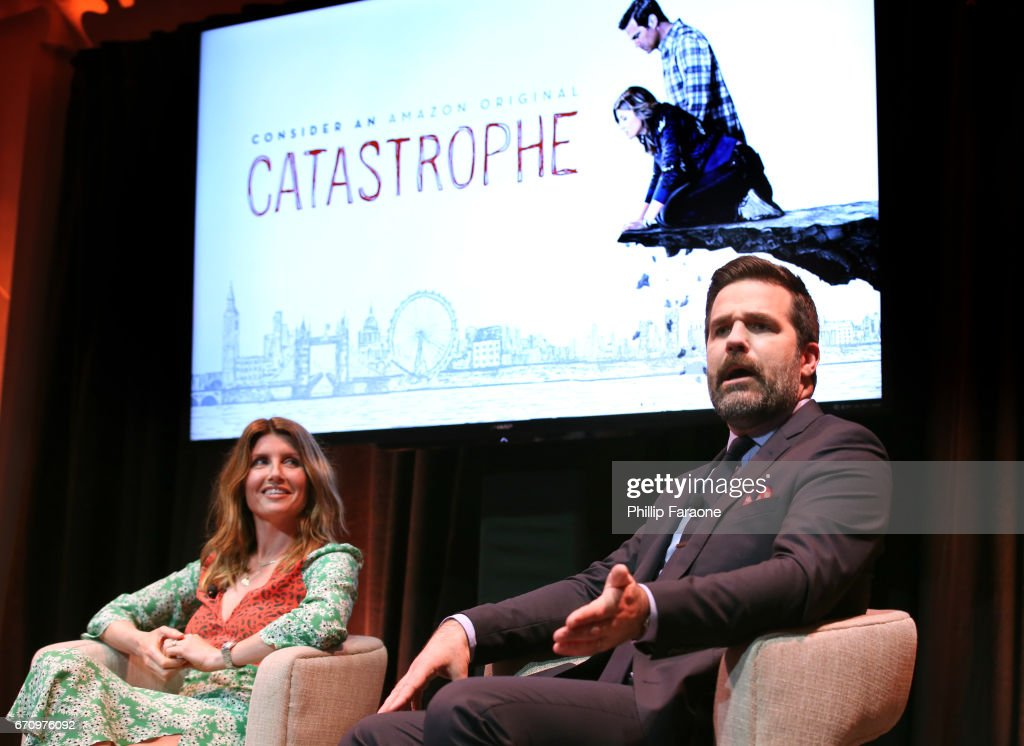 Actors Sharon Horgan and Rob Delaney speak onstage at the Amazon Studios Emmy For Your Consideration Event at Hollywood Athletic Club on April 20, 2017 in Hollywood, California.