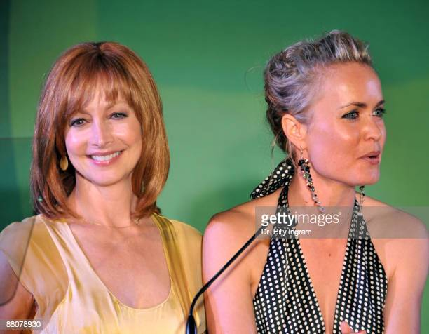 Actors Sharon Lawrence and Radha Mitchell speak at the Global Green USA's 13th Annual Millennium Awards at the Fairmont Miramar Hotel on May 30, 2009...