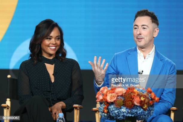 Actors Sharon Leal and Alan Cumming of the television show Instinct speak onstage during the CBS/Showtime portion of the 2018 Winter Television...