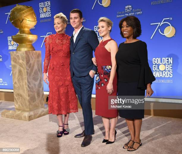 Actors Sharon Stone Garrett Hedlund Kristen Bell and Alfre Woodard attend Moet Chandon Toasts The 75th Annual Golden Globe Awards Nominations at The...