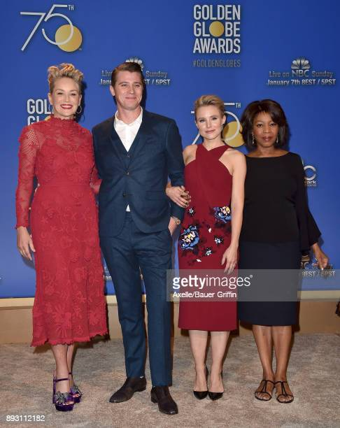 Actors Sharon Stone Garrett Hedlund Kristen Bell and Alfre Woodard attend the 75th Annual Golden Globe Nominations Announcement at The Beverly Hilton...