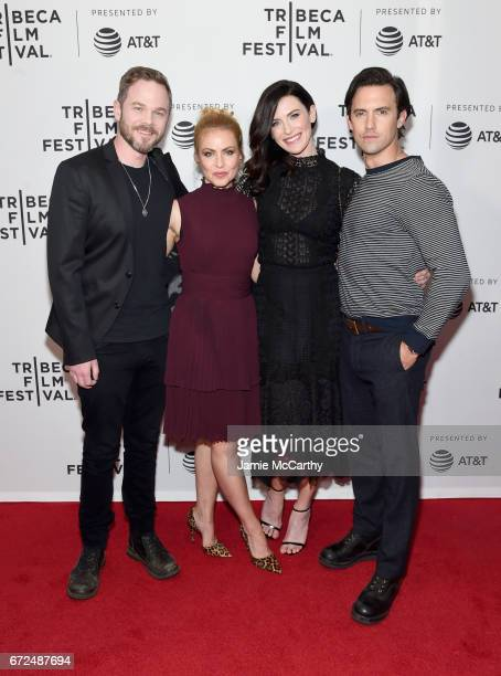 Actors Shawn Ashmore, Amanda Schull, Bridget Regan, and Milo Ventimiglia attend the 'Devil's Gate' Premiere during the 2017 Tribeca Film Festival at...