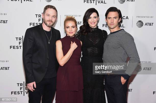 Actors Shawn Ashmore Amanda Schull Bridget Regan and Milo Ventimiglia attend the 'Devil's Gate' screening during the 2017 Tribeca Film Festival at...