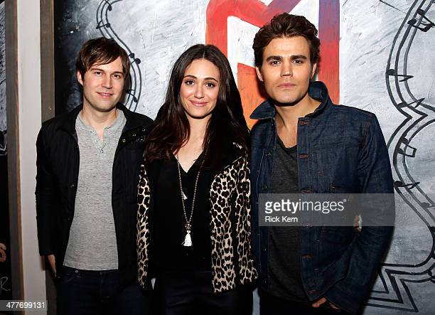 Actors Shawn Christensen Emmy Rossum and Paul Wesley attend the 'Before I Disappear' official cast dinner at the Samsung Galaxy Experience at SXSW on...