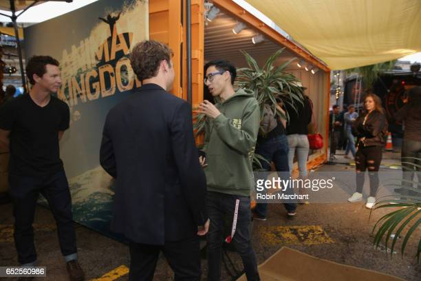 Actors Shawn Hatosy and Finn Cole speak with a guest during TNT Animal Kingdom at SXSW 2017 on March 11 2017 in Austin Texas