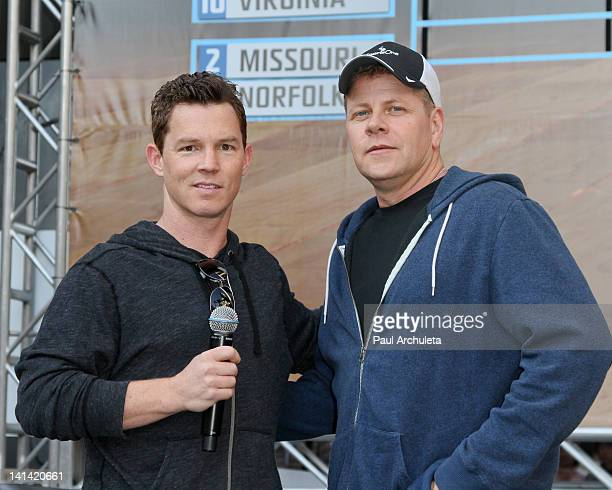 Actors Shawn Hatosy and Michael Cudlitz of TNT's 'Southland' update the NCAA tournament brackets at the Hollywood Highland Courtyard on March 15 2012...