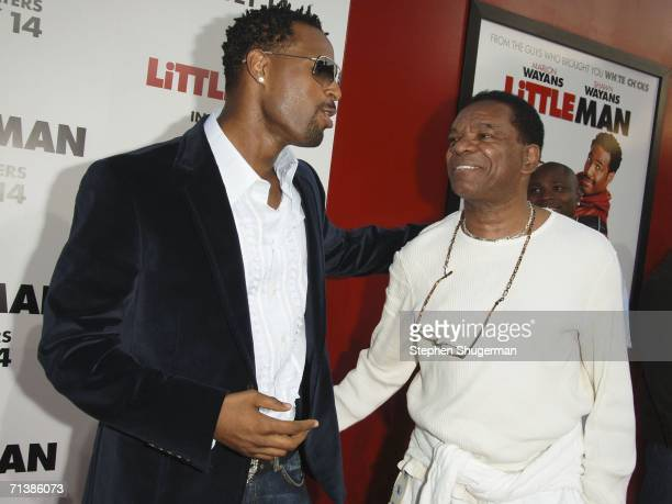 Actors Shawn Wayans and John Witherspoon attend Sony Pictures premiere of Little Man at the Mann National Theater on July 6 2006 in Westwood...