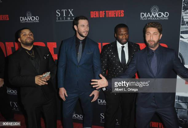 Actors 'Shea Jackson Jr Pablo Schreiber Curtis Jackson and Gerard Butler arrives for the Premiere Of STX Films' 'Den Of Thieves' held at Regal LA...