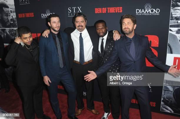 Actors 'Shea Jackson Jr Pablo Schreiber director Christian Gudegast Curtis Jackson and Gerard Butler arrives for the Premiere Of STX Films' 'Den Of...