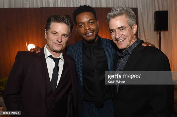 Actors Shea Whigham Stephan James and Dermot Mulroney attend the after party following the premiere of Amazon Studios' Homecoming at on October 24...