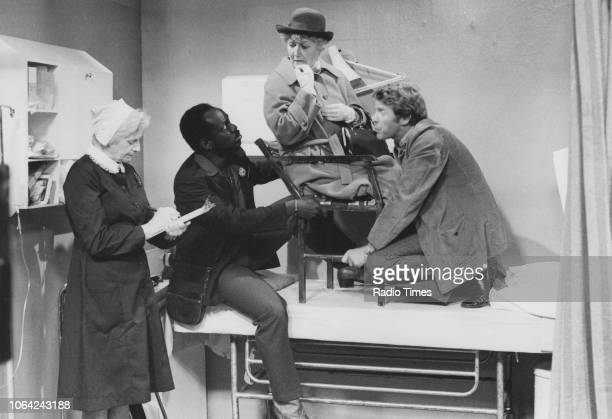 Actors Sheila Keith Carl Andrews Hazel Bainbridge and Michael Crawford in a scene from episode 'Wendy House' of the television sitcom 'Some Mothers...