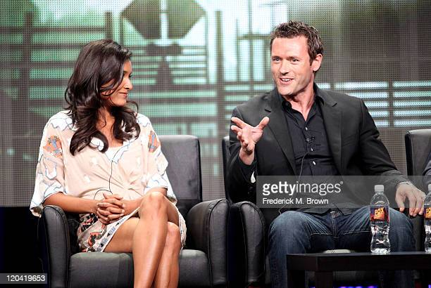 Actors Shelley Conn and Jason O'Mara speak onstage at Terra Nova panel during the FOX portion of the 2011 Summer TCA Tour at the Beverly Hilton Hotel...
