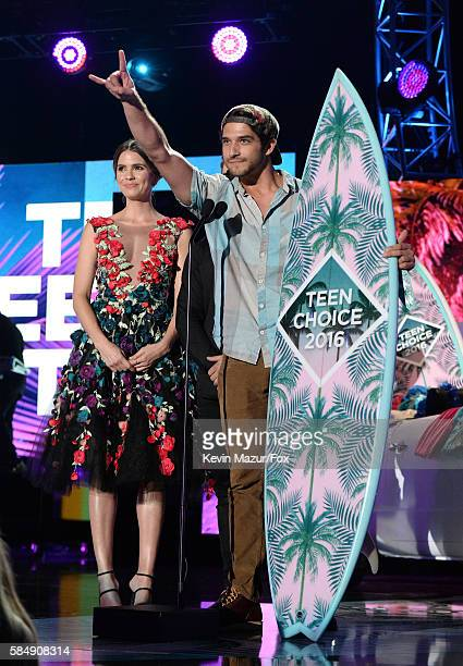 Actors Shelley Hennig Cody Christian and Tyler Posey accept the award for Choice Summer TV Show onstage during Teen Choice Awards 2016 at The Forum...