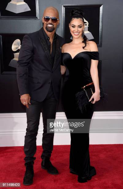 Actors Shemar Moore and Anabelle Acosta attend the 60th Annual GRAMMY Awards at Madison Square Garden on January 28 2018 in New York City