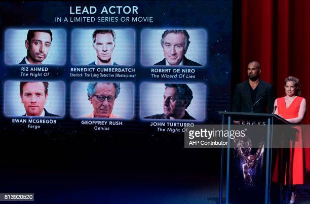Actors Shemar Moore and Anna Chlumsky present the Emmy nominees for Lead Actor In a Limited Series or Movie at the Television Academy on July 13 in...