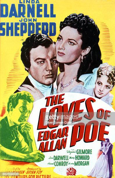 Actors Shepperd Strudwick as Edgar Allan Poe and Linda Darnell as Virginia Clemm on a poster for the 20th Century Fox film 'The Loves of Edgar Allan...
