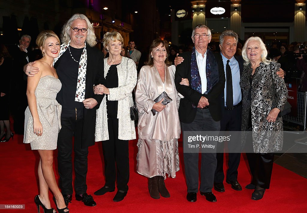 Actors Sheridan Smith, Billy Connolly, Maggie Smith, Pauline Collins, Tom Courtenay, director Dustin Hoffman and Dame Gwyneth Jones attend the 'Quartet' premiere during the 56th BFI London Film Festival at the Odeon Leicester Square on October 15, 2012 in London, England.