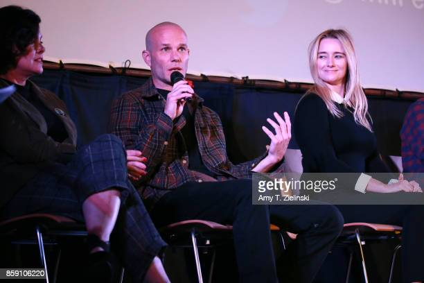 Actors Sherilyn Fenn James Marshall andAmy Shiels on stage during the Twin Peaks UK Festival 2017 at Hornsey Town Hall Arts Centre on October 8 2017...