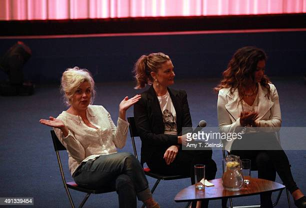 Actors Sherilyn Fenn Madchen Amick and daugther singer Mina Tobias attend a QA during the sixth annual Twin Peaks UK Festival at Genesis Cinema on...