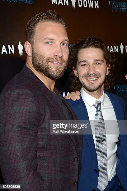Actors Shia LaBeouf and Jai Courtney attend the premiere of Lionsgate Premiere's 'Man Down' at ArcLight Hollywood on November 30 2016 in Hollywood...