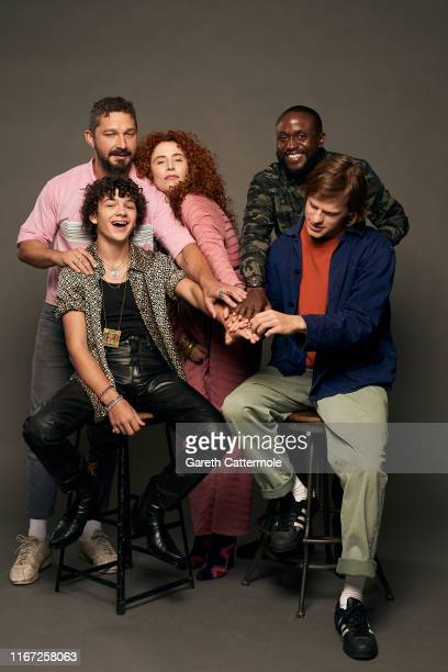 Actors Shia LaBeouf and Noah Jupe director Alma Har'el and actors Lucas Hedges and Byron Bowers from the film 'Honey Boy' pose for a portrait during...