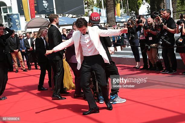 Actors Shia LaBeouf dances at the 'American Honey' premiere during the 69th annual Cannes Film Festival at the Palais des Festivals on May 15 2016 in...