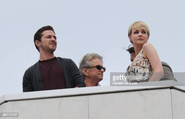 Actors Shia Leboeuf Michael Douglas Josh Brolin and Carey Mulligan look on from the roof of the Palais Stephanie during day 2 of the 63rd Annual...