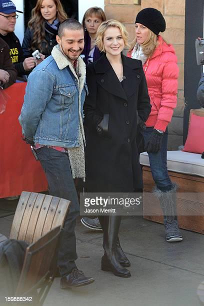 Actors Shia LeBouf and Evan Rachel Wood are interviewed on January 22 2013 in Park City Utah