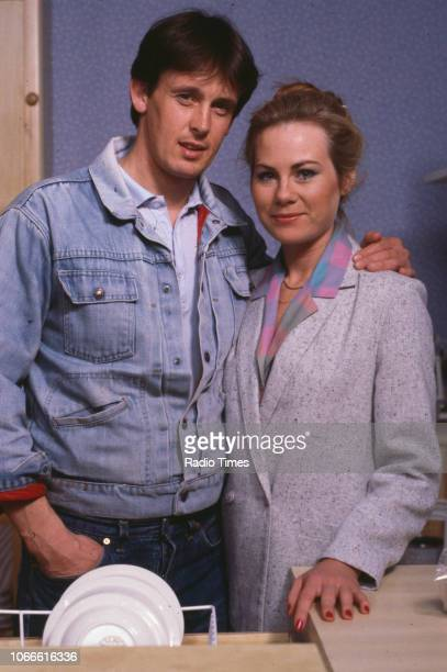 Actors Shirley Cheriton and Ross Davidson pictured on the set of the BBC soap opera 'EastEnders' August 8th 1986