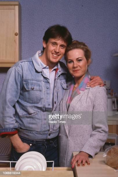 Actors Shirley Cheriton and Ross Davidson pictured on the set of the BBC soap opera 'EastEnders', August 8th 1986.