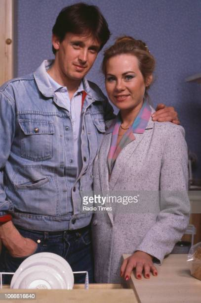 Actors Shirley Cheriton and Ross Davidson pictured on the set of the BBC soap opera 'EastEnders' January 10th 1985
