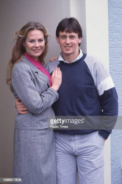 Actors Shirley Cheriton and Ross Davidson pictured on the set of the BBC soap opera 'EastEnders' December 18th 1985