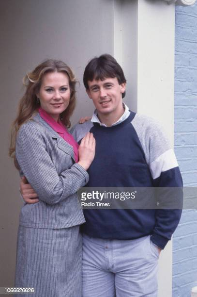 Actors Shirley Cheriton and Ross Davidson pictured on the set of the BBC soap opera 'EastEnders' December 30th 1984