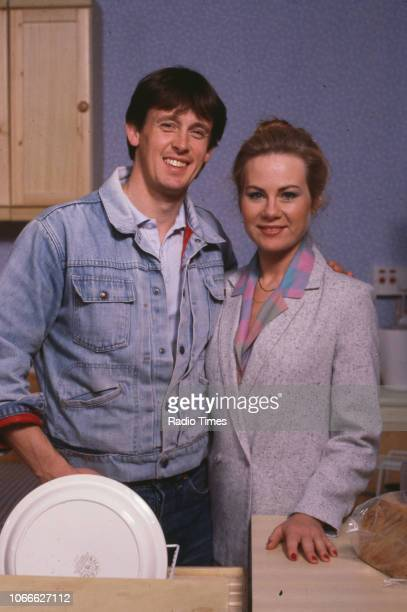 Actors Shirley Cheriton and Ross Davidson pictured on the set of the BBC soap opera 'EastEnders' November 21st 1984