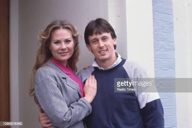 Actors Shirley Cheriton and Ross Davidson pictured on the set of the BBC soap opera 'EastEnders' 1986