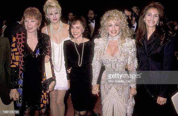 Actors Shirley MacLaine Daryl Hannah Sally Field Musician Dolly Parton and Actress Julia Roberts attend the 'Steel Magnolias' New York City Premiere...
