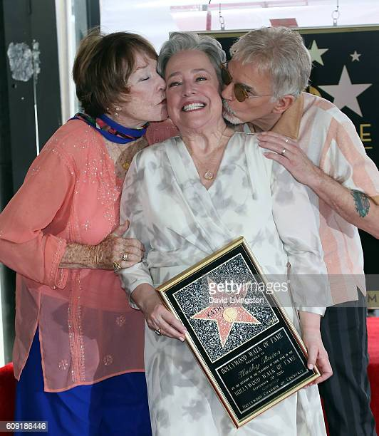 Actors Shirley MacLaine Kathy Bates and Billy Bob Thornton attend the ceremony honoring Kathy Bates with a Star on the Hollywood Walk of Fame on...