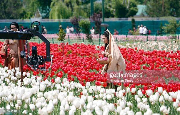 Actors shooting of television channel Star Plus mythological serial Mahabharata at Asia's largest Tulip garden on the banks of the Dal lake on April...