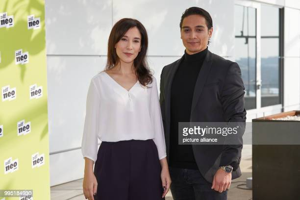 Actors Sibel Kekilli and Yasin Boynuince at the German public broadcaster ZDFneo's presentation of two new television series in the ZDF studio in...