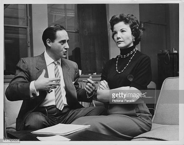 Actors Sid Caesar and Nanette Fabray in a skit from the the television show 'Caesar's Hour' circa 19541957