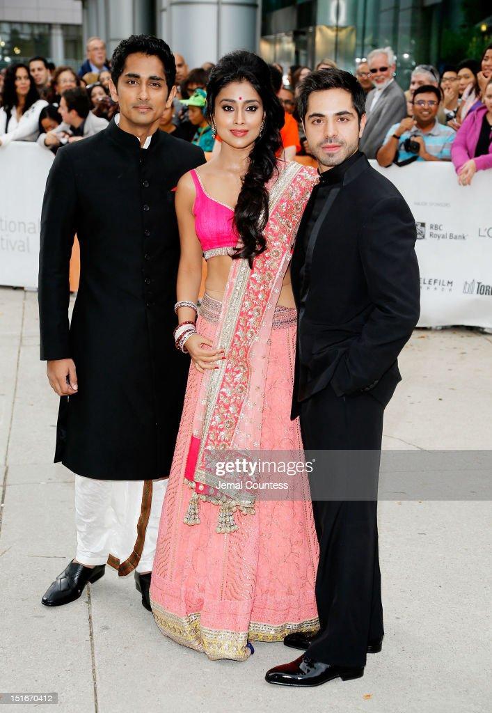 Actors Siddharth, Shriya Saran, and Satya Bhabha arrive at the 'Midnight's Children' Premiere at the 2012 Toronto International Film Festival at Roy Thomson Hall on September 9, 2012 in Toronto, Canada.