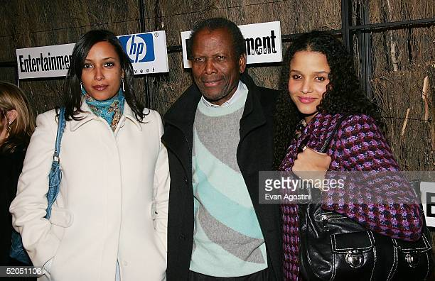 Actors Sidney Poitier and daughters attend Entertainment Weekly?s Winter Wonderland Sundance Bash at the Shop during the 2005 Sundance Film Festival...
