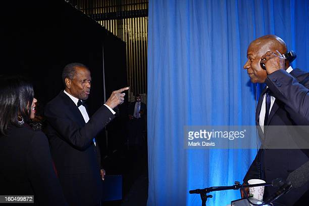 Actors Sidney Poitier and Dennis Haysbert attend the 44th NAACP Image Awards at The Shrine Auditorium on February 1 2013 in Los Angeles California
