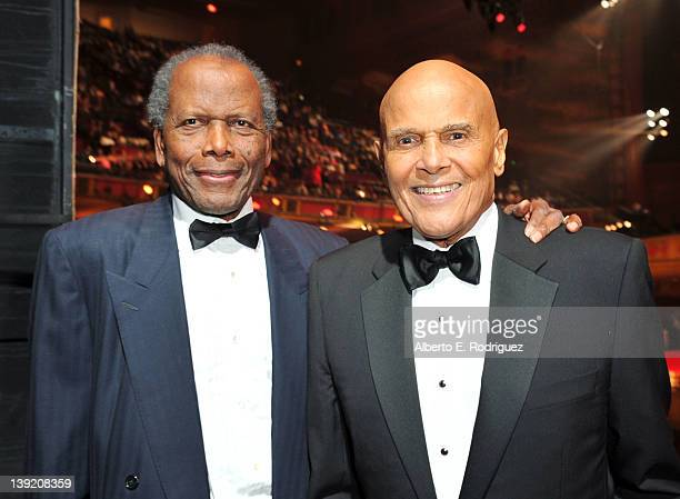 Actors Sidney Poitier and Harry Belafonte attend the 43rd NAACP Image Awards held at The Shrine Auditorium on February 17 2012 in Los Angeles...