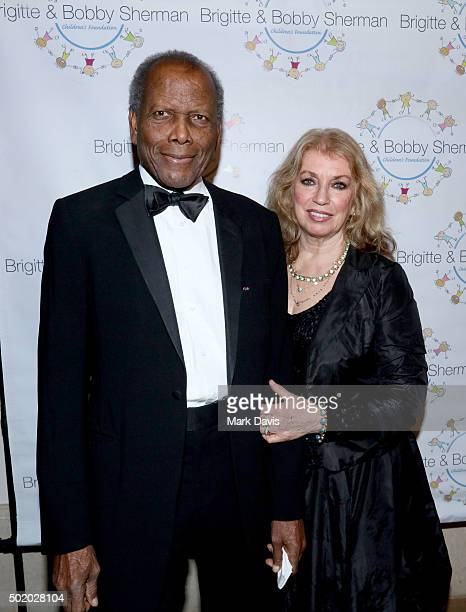 Actors Sidney Poitier and Joanna Shimkus attend the Brigitte and Bobby Sherman Children's Foundation's 6th Annual Christmas Gala and Fundraiser at...