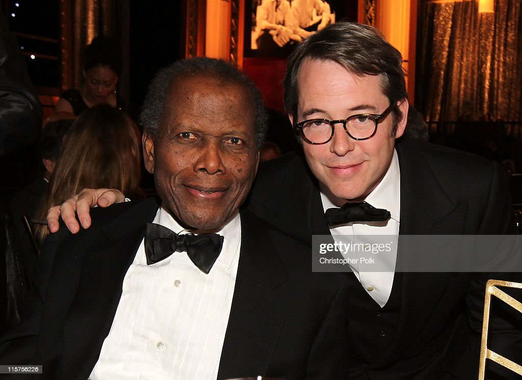 Actors Sidney Poitier (L) and Matthew Broderick in the audience at the 39th AFI Life Achievement Award honoring Morgan Freeman held at Sony Pictures Studios on June 9, 2011 in Culver City, California. The AFI Life Achievement Award tribute to Morgan Freeman will premiere on TV Land on Saturday, June 19 at 9PM