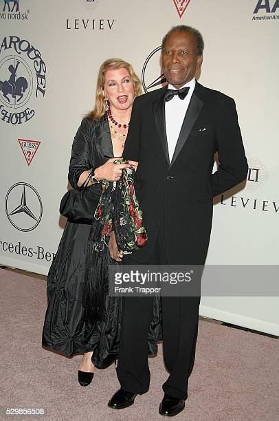 Actors Sidney Poitier and wife Joanna Shimkus arrive at The 17th Carousel of Hope Ball to benefit The Barbara Davis Center For Childhood Diabetes...